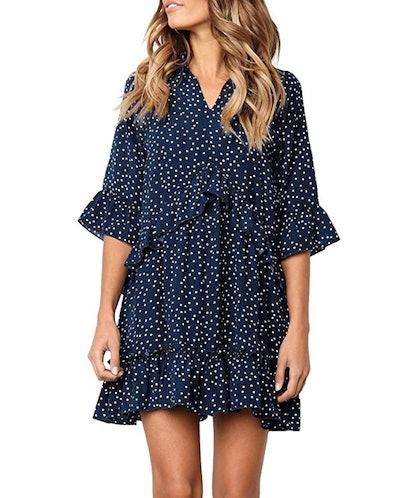 MITILLY Ruffle Polka Dot T-Shirt Dress with Pockets