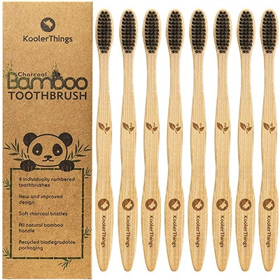 Biodegradable Natural Charcoal Bamboo Toothbrushes (8-Pack)