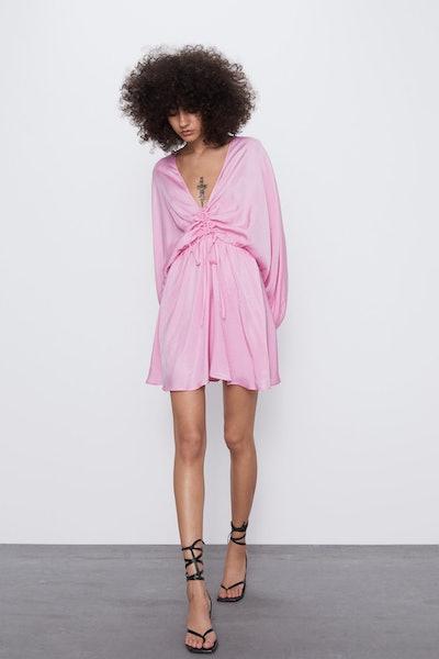 Satin Effect Draped Dress