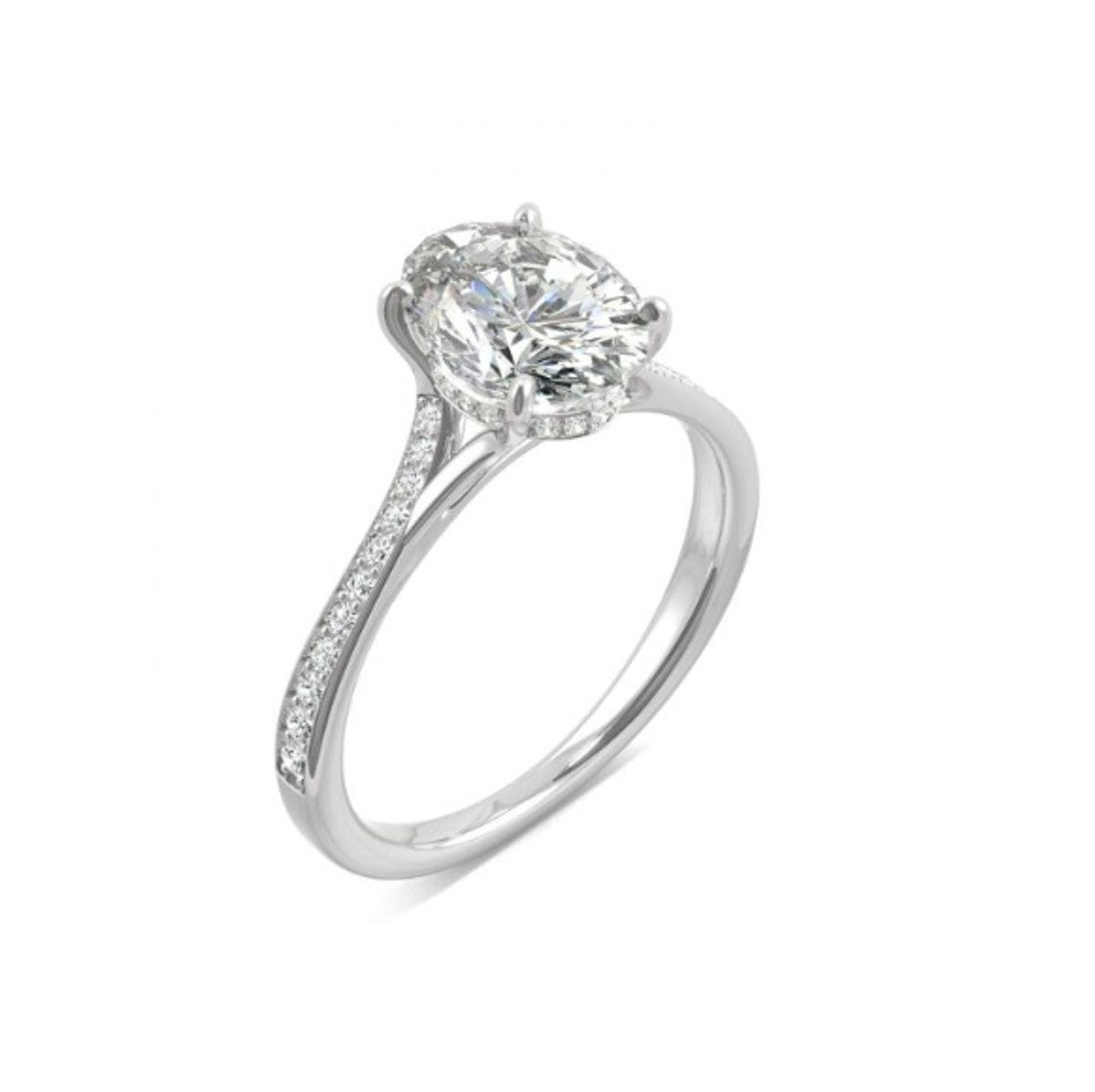 Oval Side-Stone Engagement Ring with Hidden Halo Near-Colorless Moissanite 2.25CTW in 14K White Gold