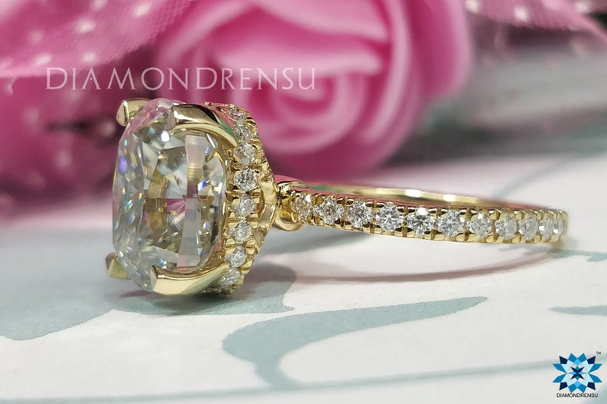 5.50 CT Hidden Halo Elongated Cushion Moissanite Ring   Colorless Moissanite   Solid Yellow Gold Rin...