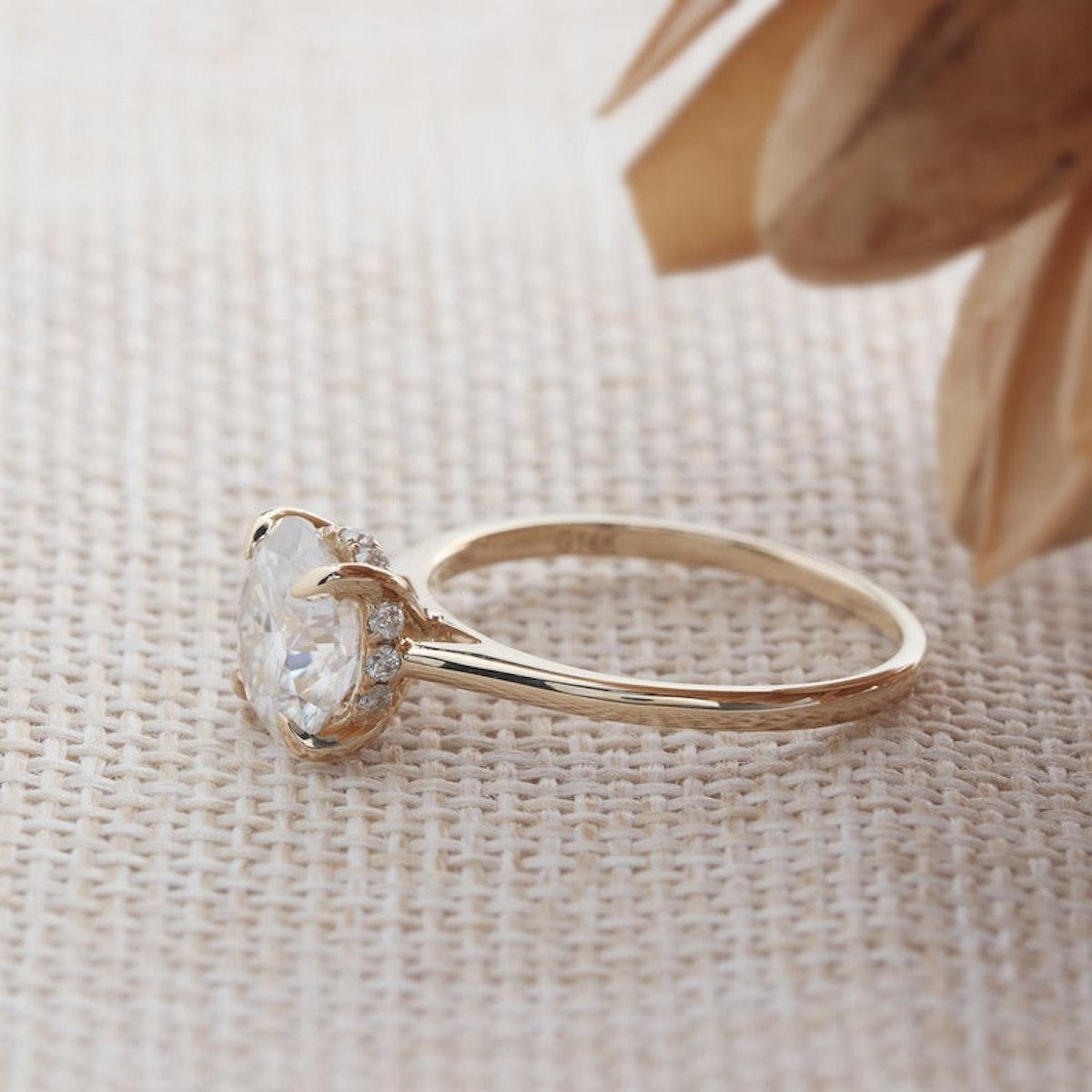 Hidden Halo Engagement Ring/ 8.0mm Round Cut Moissanite Ring/ 4 Prongs Promise Ring/ 14K Gold Ring/ ...