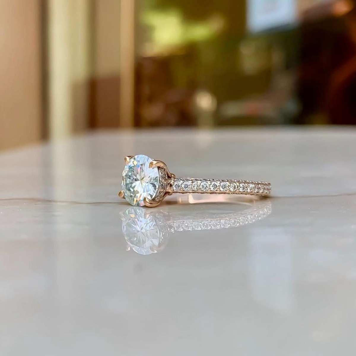 2.50 Ct White Round Moissanite Hidden Halo Engagement Ring, Wedding Ring in 14KT Rose Gold, Moissani...