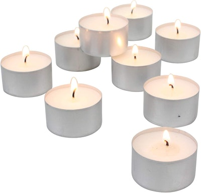 Stonebriar Long Burning Unscented Tea Light Candles (100-Pack)