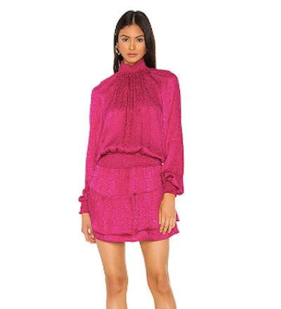 Smocked Turtleneck Dress