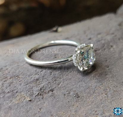 Pave Hidden Halo Cushion Cut Moissanite Diamond Engagement Ring