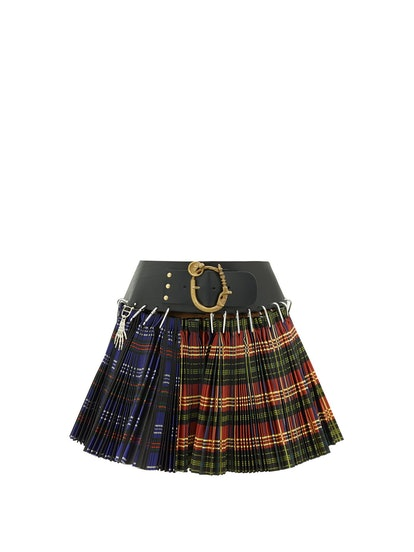 Pleated Tartan-Check Wool-Blend Mini Skirt