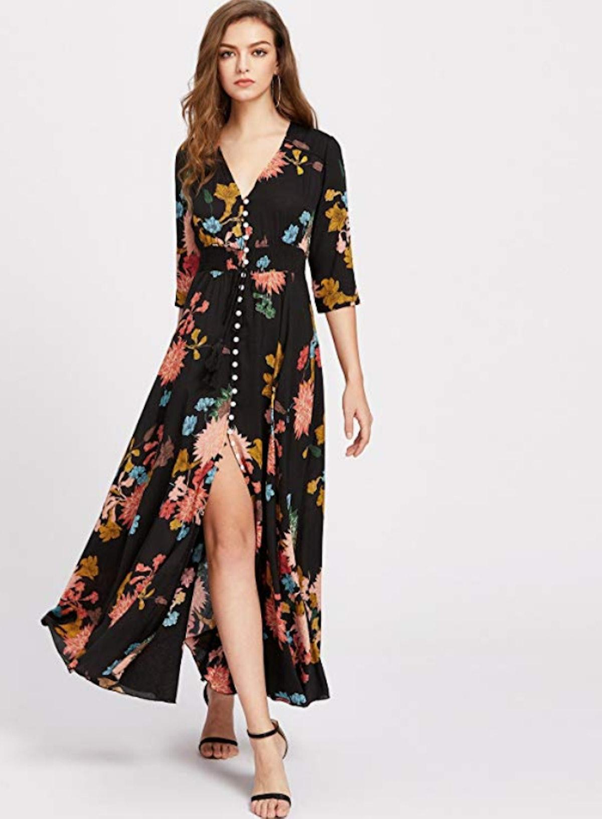 Milumia Button Up Split Maxi Dress