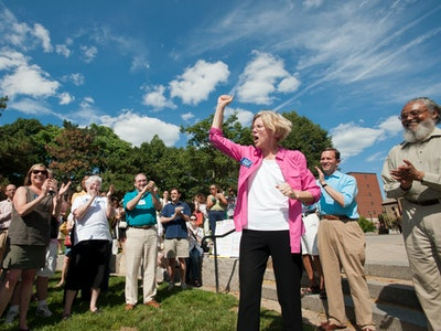 Elizabeth Warren, Democratic candidate for US Senator from MA campaigning at a Democratic gathering in Sparrow Park in the South End section of Boston, MA on June 24, 2012.