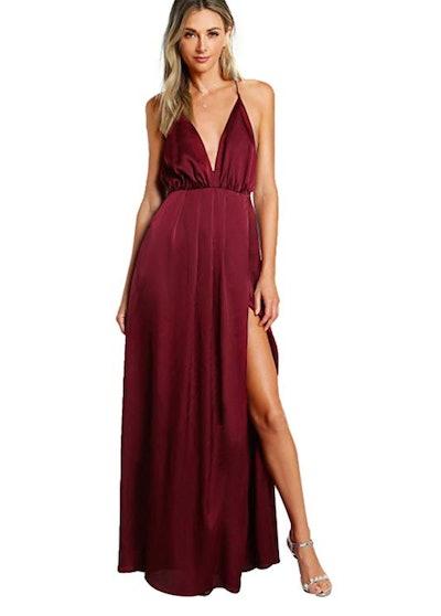 SheIn Satin Deep V Neck Backless Maxi Dress