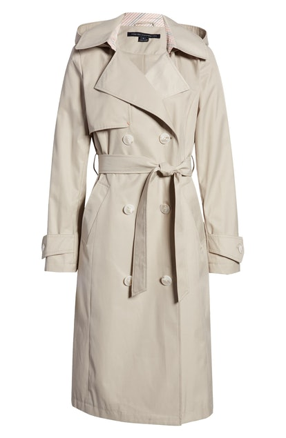 Double Breasted Hooded Trench Coat