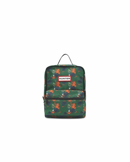 A delightful green backpack with Peter Rabbit print.