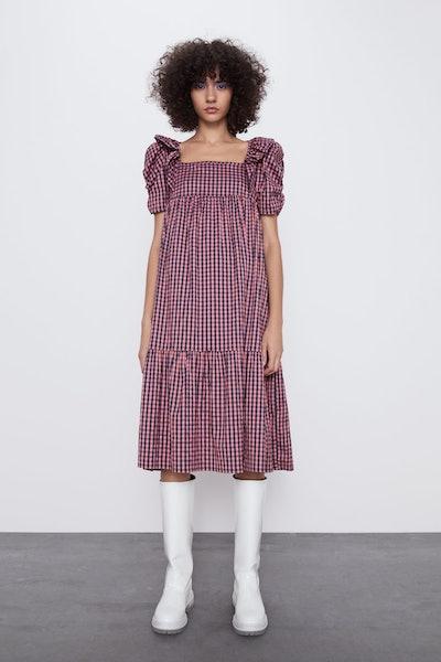 Gingham Corduroy Dress
