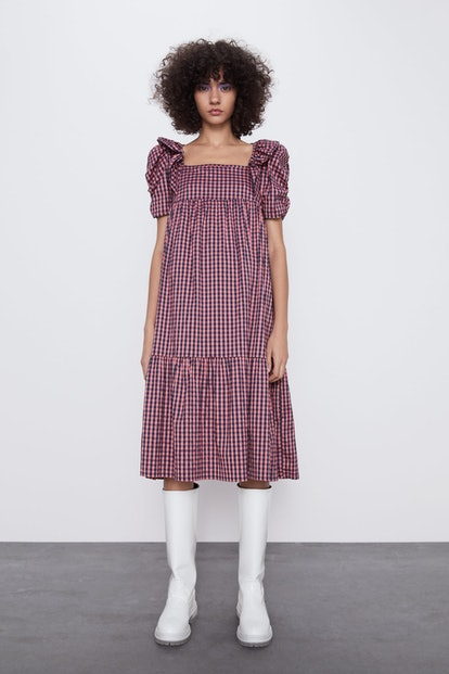 Gingham Corduroy Dress