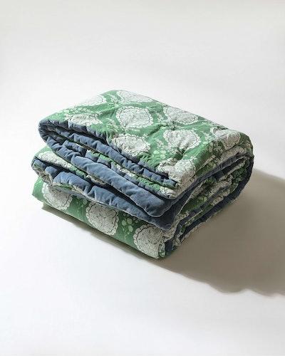Paisley Green & Blue Velvet Double Bedspread