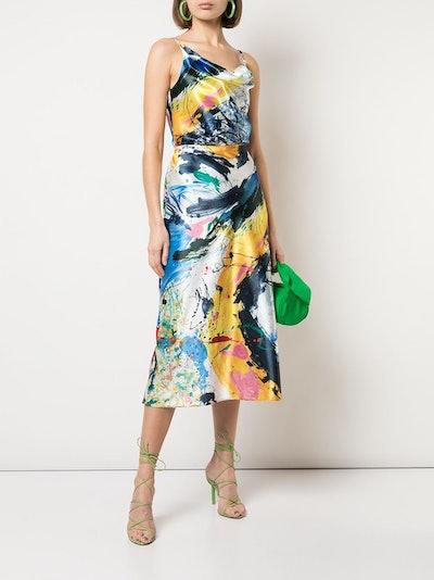 Painted-Print Satin Skirt