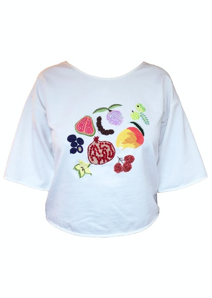 Nostalgic Fruit Beaded White Tee