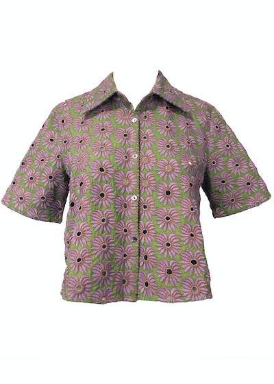 Button-Down Crop Shirt — Banana Eyelet