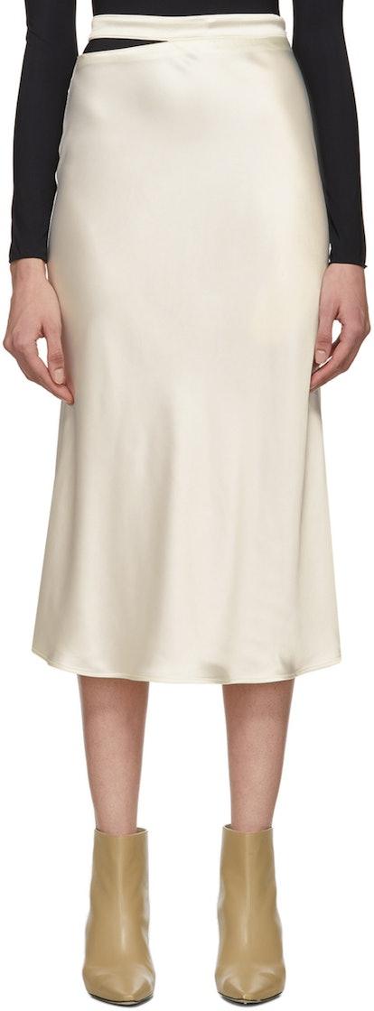 Off-White Satin Skirt