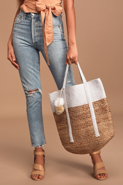 When The Sun's Out Ivory and Tan Woven Pom Pom Tote Bag