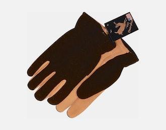 Fleece back deerskin glove