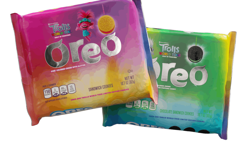 These New 'Trolls World Tour' Oreo Flavors include pink and green fillings.