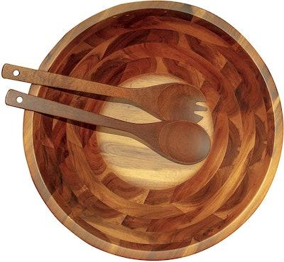 Aidea Acacia Wooden Salad Bowl Set (3-Pieces)