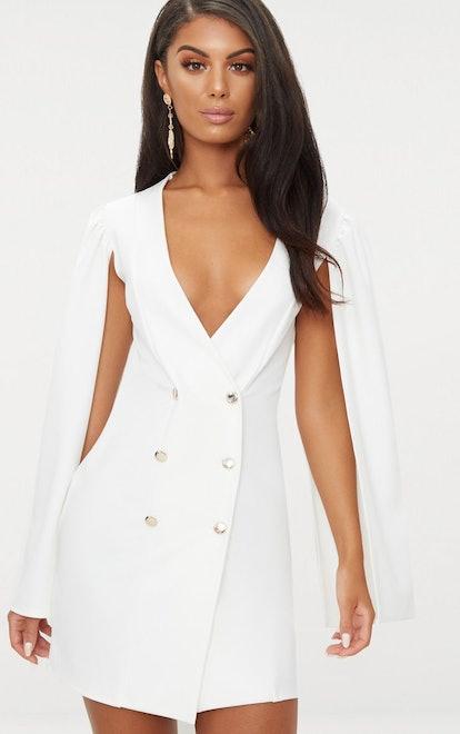 PrettyLittleThing White Cape Button Detail Blazer Dress