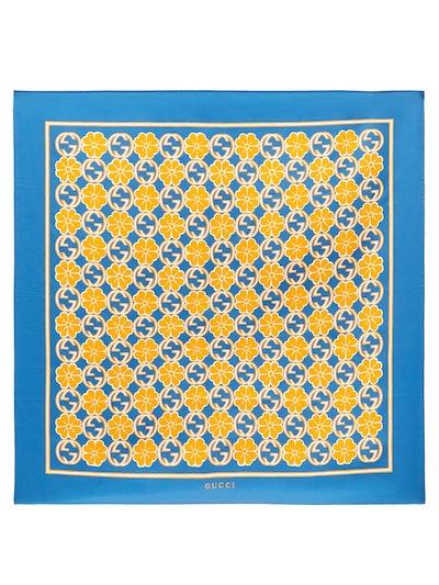 GG-Floral Print Silk-Faille Scarf