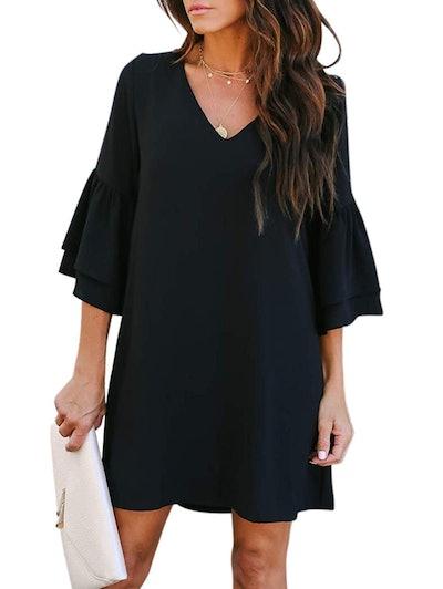 BELONGSCI V-Neck Bell Sleeve Dress