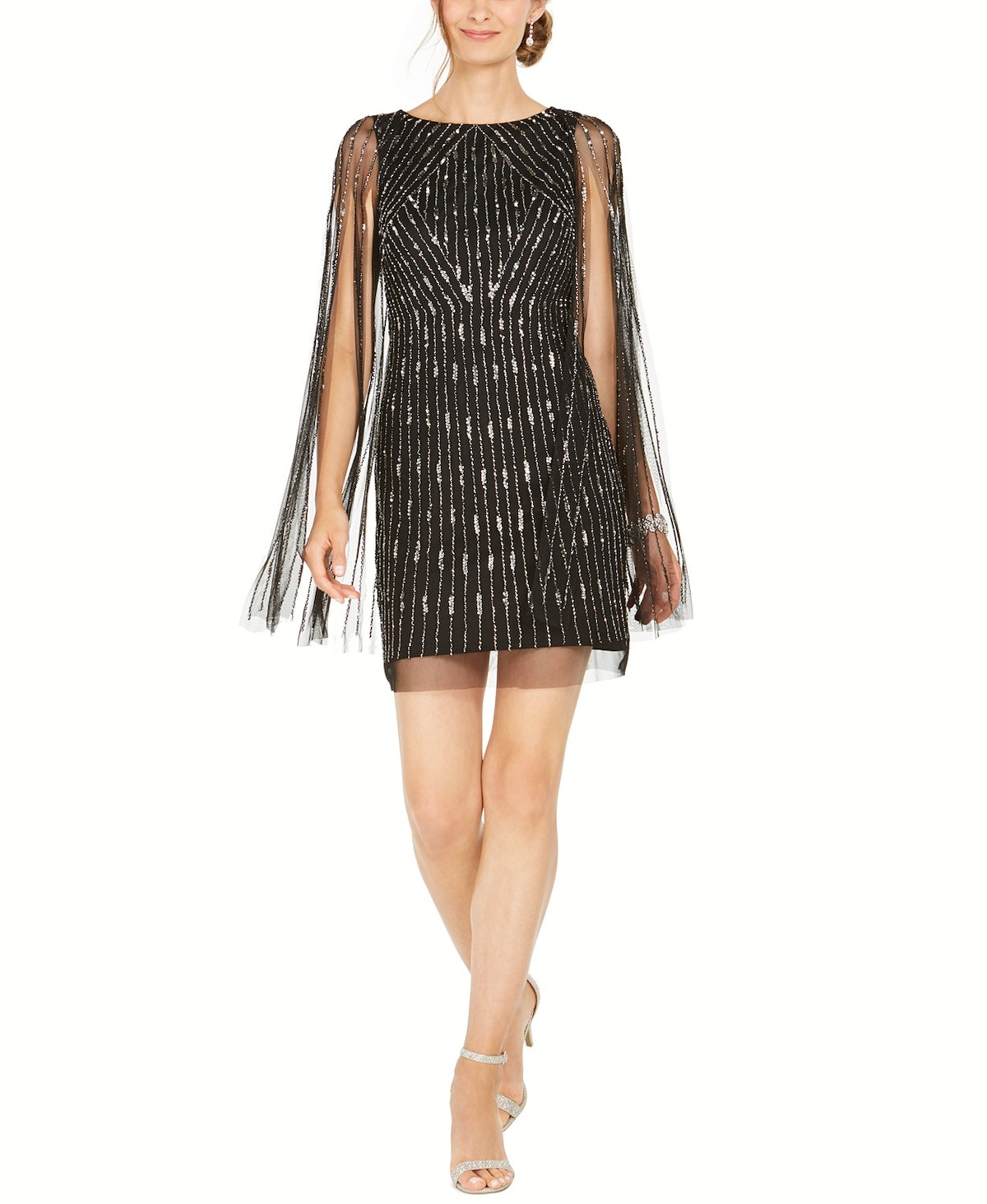 Adrianna Papell Embellished Cape Dress