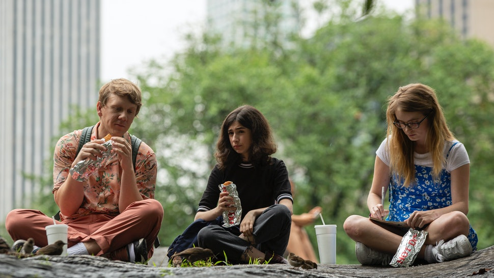 Josh Thomas as Nicholas, Maeve Press as Genevieve, and Kayla Cromer as Matilda in Everything's Gonna Be Okay