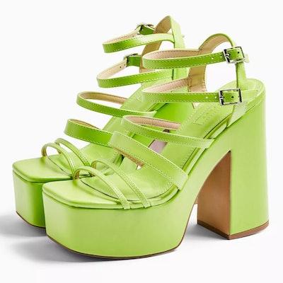 Rapid Lime Green Strap Platform Shoes
