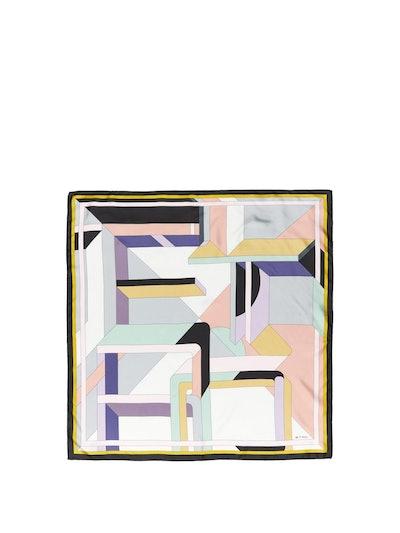 Geometric-Print Silk Scarf