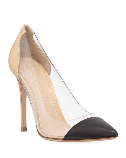 Clear-Sided Leather Cap-Toe Pumps
