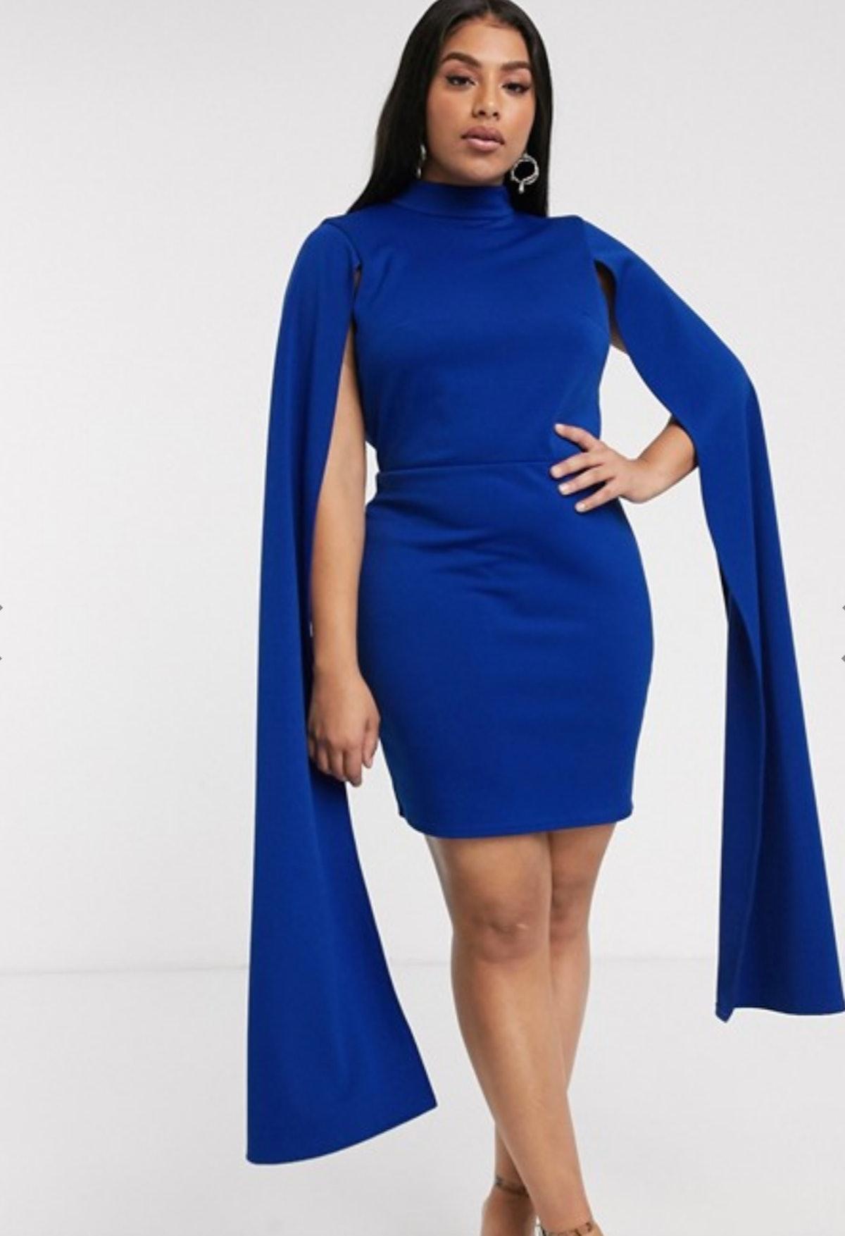 True Violet Plus Mini Dress With Extreme Cape Detail
