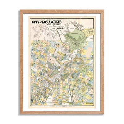 Los Angeles Map Vintage Poster Print