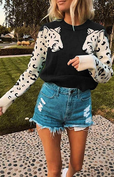 Angashion Leopard Pullover Cropped Sweater