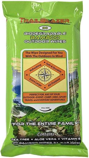 Trailblazer Biodegradable No Rinse Bamboo Wipes (30 Count)