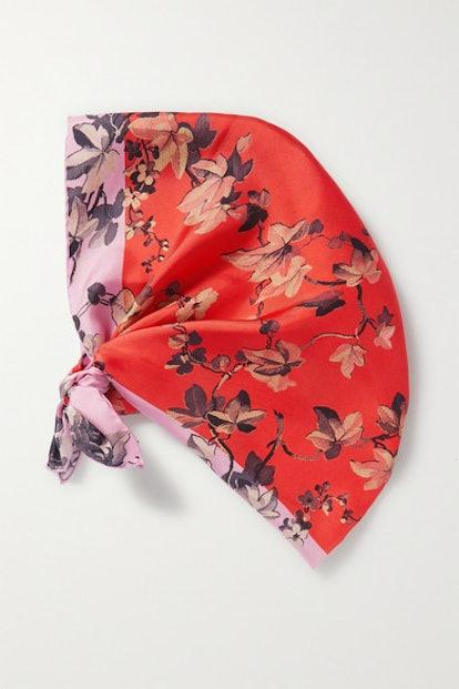 Fondant Foral-Print Silk-Twill Scarf