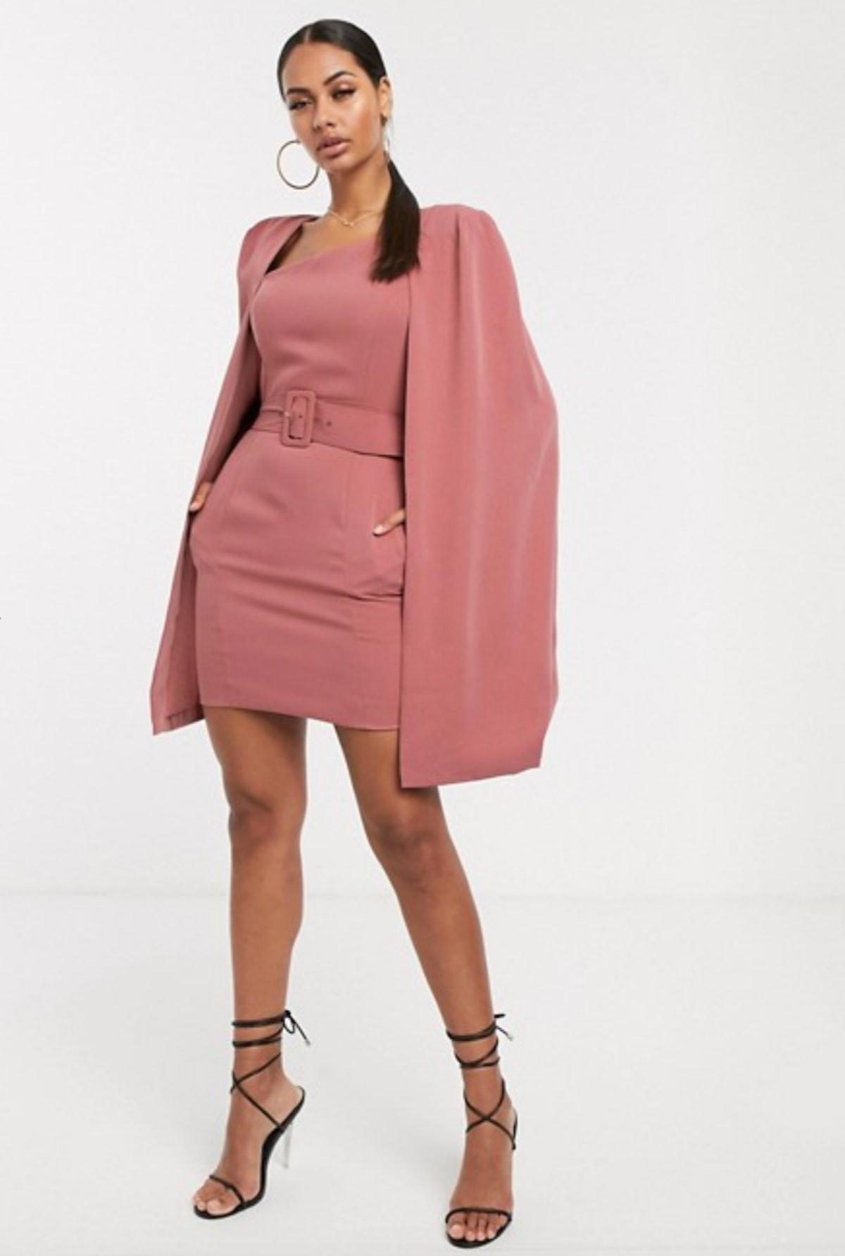 Lavish Alice Asymmetric Mini Cape Dress