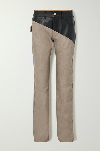 Leather-Paneled Jeans