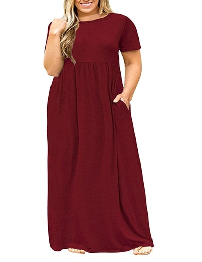 POSESHE Plus Size Short Sleeve Maxi Dress with Pockets