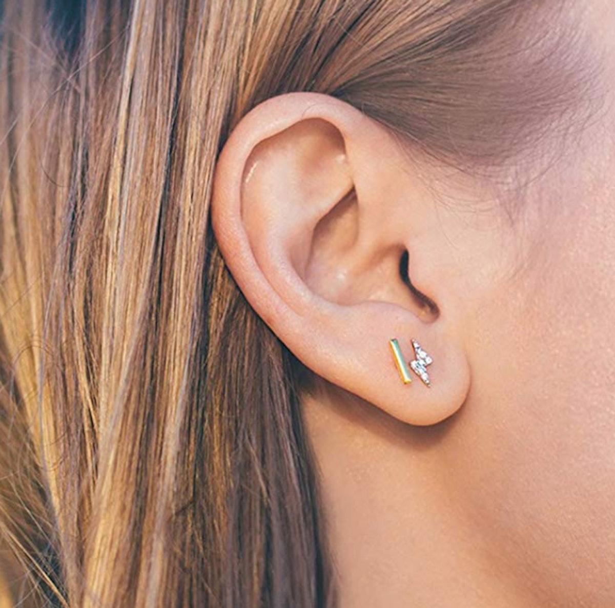 PAVOI Sterling Silver Dainty Mini Bar Stud Earrings