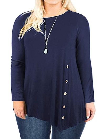 DOLNINE Womens Plus Size Pleated Tunics