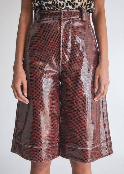 Snake Foil Leather Wide Leg Shorts in Decadent Chocolate