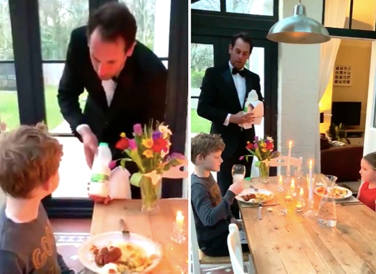 A dad from Britain decided to throw his kids a fancy dinner party during the COVID-19 quarantine.