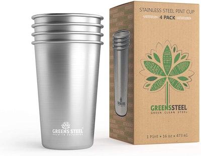 Greens Steel Stainless Steel Cups (4-Pack)