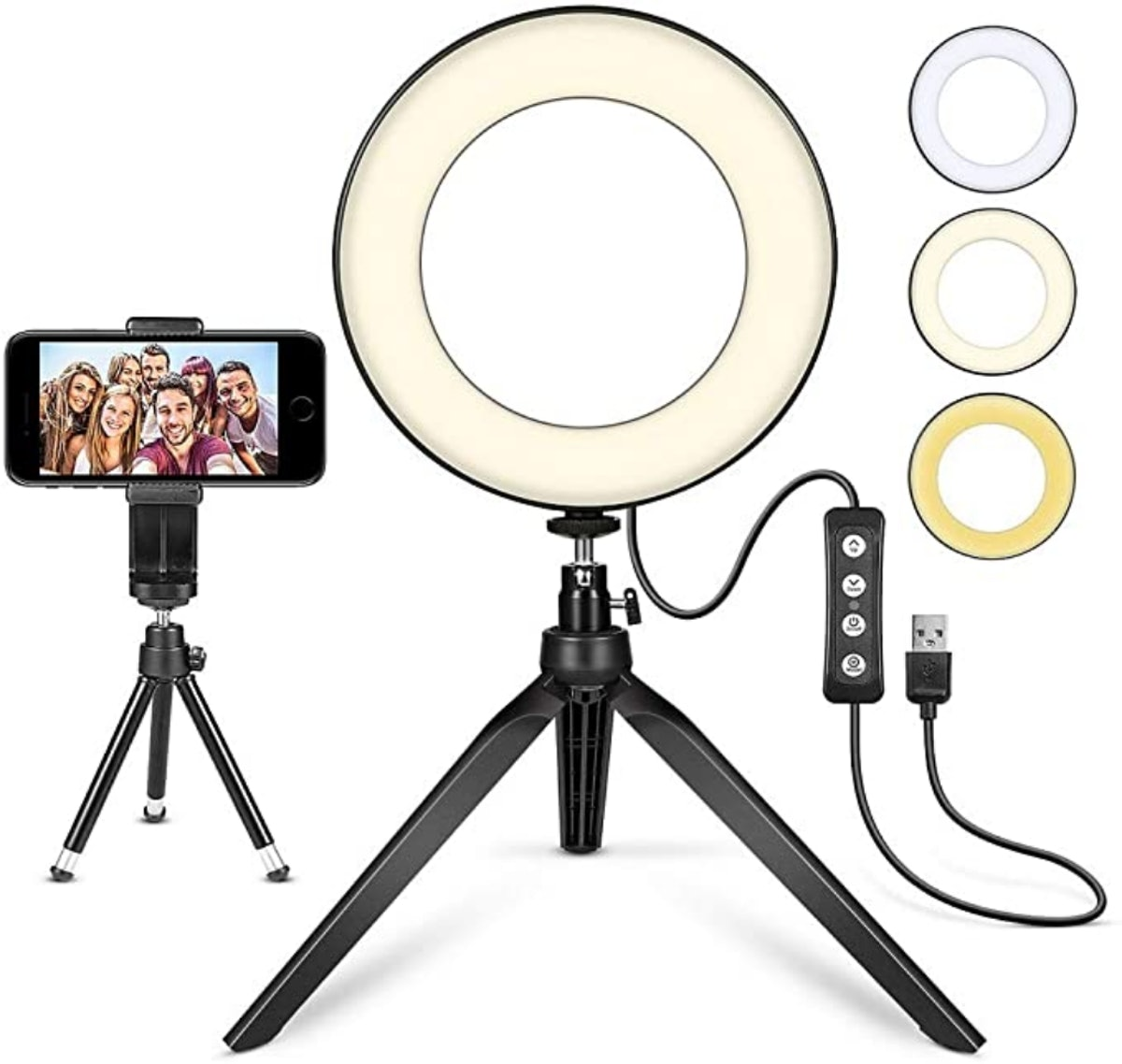 MACTREM LED Ring Light With Tripod Stand (6 Inches)
