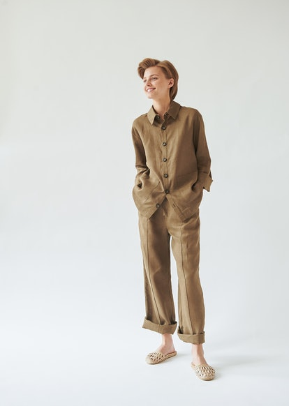 Sleeper Sepia Linen Unisex Pajamas Set with Pants
